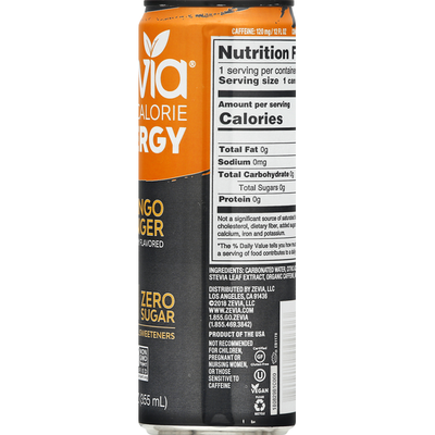Zevia Energy Drink, Zero Calorie, Mango/Ginger