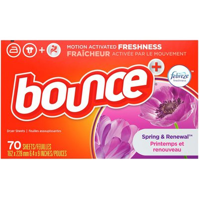 Bounce with Febreze Scent Spring & Renewal Fabric Softener Dryer Sheets