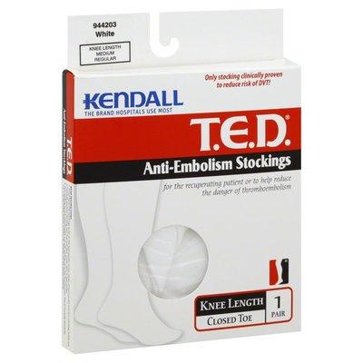 Kendall Anti-Embolism Stockings, Knee Length, Closed Toe, Medium/Regular, White