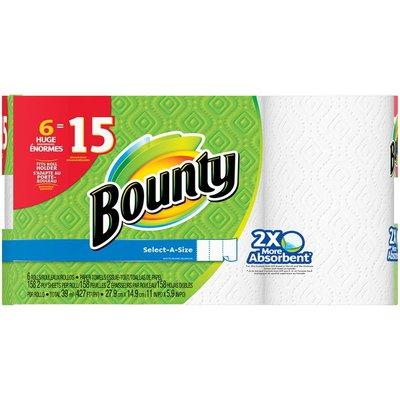 Bounty Select-A-Size, White, 6 Huge Rolls = 15 Regular Rolls  Paper Towels