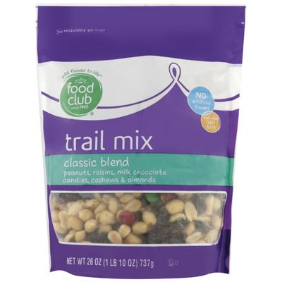 Food Club Classic Blend Peanuts, Raisins, Milk Chocolate Candies, Cashews & Almonds Trail Mix