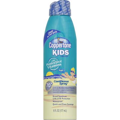 Coppertone Sunscreen, Clear No-Rub Spray, Continuous Spray, SPF 70+