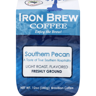 Iron Brew Coffee Coffee, Brazilian, Freshly Ground, Light Roast, Southern Pecan