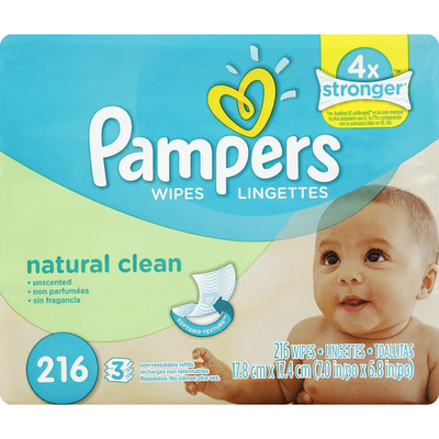 Pampers Wipes, Unscented, Natural Clean, Refills