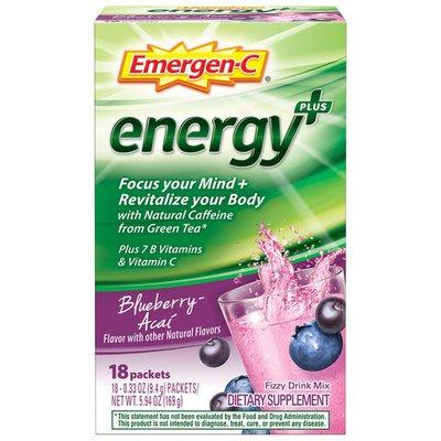 Emergen-C Energy+ Fizzy Drink Mix Blueberry Acai, Energy+ Fizzy Drink Mix Blueberry Acai