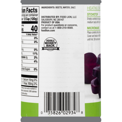 Food Lion Beets, Sliced, Can