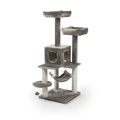Prevue Pet Products Gray Kitty Power Paws Plush Party Tower Cat Furniture