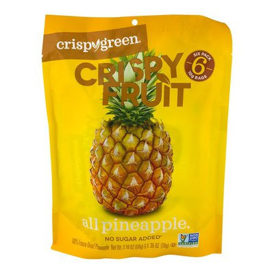 Crispy Green Crispy Fruit, All Pineapple, 6 Snack Packs