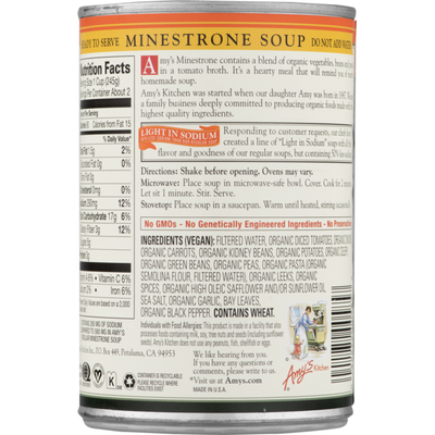 Amy's Kitchen Organic Light in Sodium Low-Fat Minestrone Soup