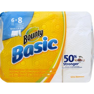Bounty Select-A-Size Paper Towels, White, 6 Big Rolls = 8 Regular Rolls Towels/Napkins