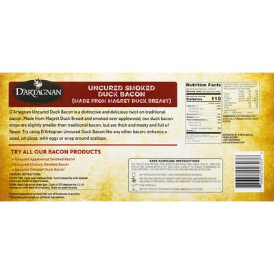 D'Artagnan Duck Bacon, Smoked, Uncured