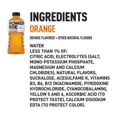 Powerade Sugar Orange, Ion4 Electrolyte Enhanced Fruit Flavored Sugar Calorie Sports Drink W/ Vitamins B3, B6, And B12, Replenish Sodium, Calcium, Potassium, Magnesium