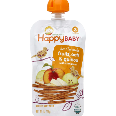 Happy Baby/Family Baby Food, Organic, Hearty Meals, Fruits, Oats & Quinoa with Cinnamon, 3 (7+ Months)
