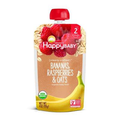 Happy Baby Bananas, Raspberries & Oats