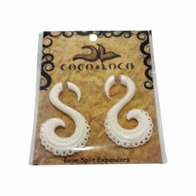 Coco Loco Jewelry White Swan Hanging Bone Carved Earrings