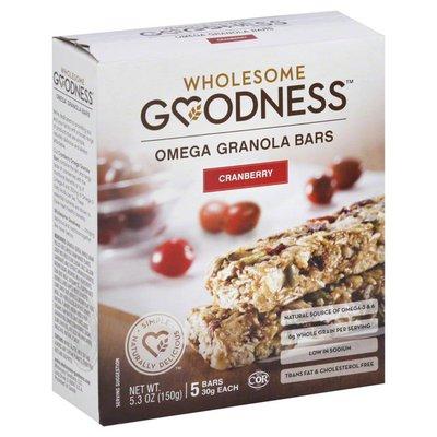 Wholesome Goodness Granola Bars, Omega, Cranberry