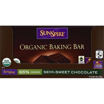 SunSpire Baking Bar, Organic, Semi-Sweet Chocolate
