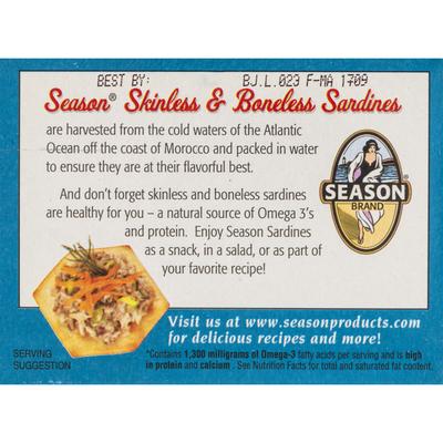 Season Brand Sardines, in Water, Salt Added