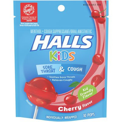 Halls Kids Cherry Menthol Cough & Sore Throat Pops