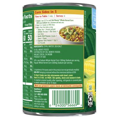 Del Monte Whole Kernel Corn, 50% Less Sodium