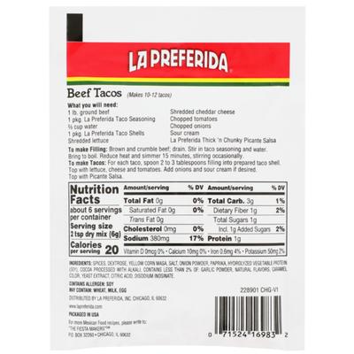 La Preferida Taco Seasoning (Mix)
