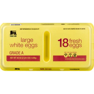 Food Lion Eggs, White, Large, Carton
