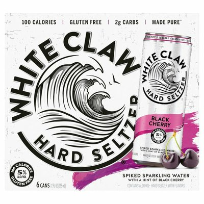 White Claw Hard Seltzer, Black Cherry, Spiked, 6 Pack