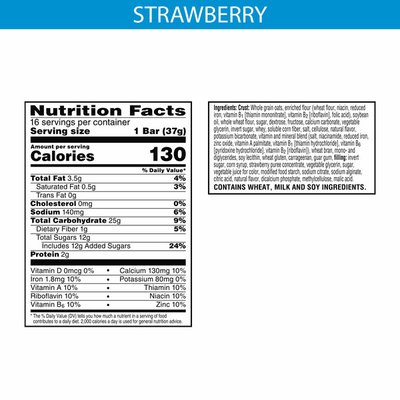 Kellogg's Nutri-Grain Soft Baked Breakfast Bars, Made with Real Fruit and Whole Grains, Kids Snacks, Strawberry