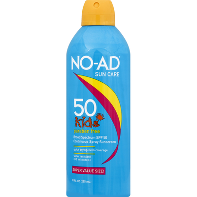 No-Ad Sunscreen, 50 Kids, Continuous Spray, SPF 50, Super Value Size!