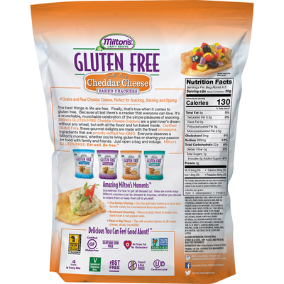 Miltons Baked Crackers, Gluten Free, Cheddar Cheese