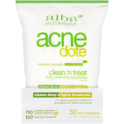 Alba Botanica Maximum Strength Clean 'n Treat Daily Cleansing Wet Towelettes