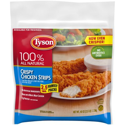Tyson Fully Cooked Crispy Chicken Strips, Family Size, (Frozen)
