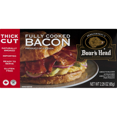 Boar's Head Fully Cooked Bacon Thick Cut - 8 CT