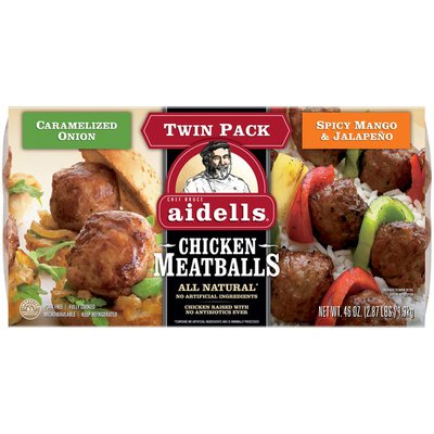 Aidells Chicken Meatballs Twin Pack, Spicy Mango & Jalapeño and Caramelized Oni