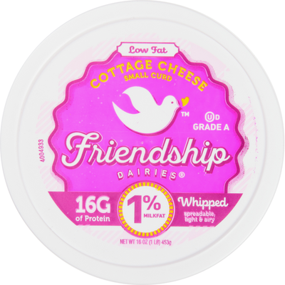 Friendship Dairies Cottage Cheese, Small Curd, 1% Milkfat, Low Fat, Whipped