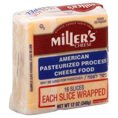 Miller's Cheese Cheese Food, Pasteurized Process, American, Slices