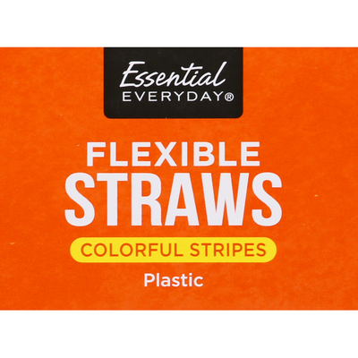 Essential Everyday Straws, Flexible, Colorful Stripes, Plastic