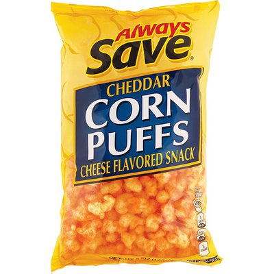 Always Save Cheddar Corn Puffs Cheese Flavored Snack