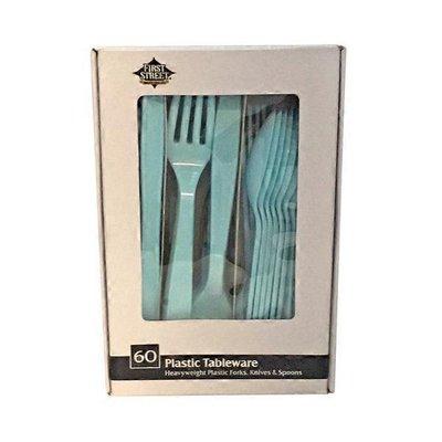 First Street Artstyle Pastel Blue Combo Plastic Tableware