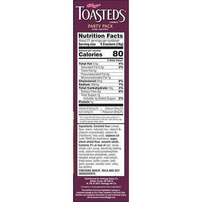 Kellogg's Toasteds Crackers, Toasted Crackers, Party Snacks, Variety Pack