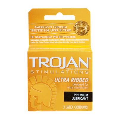 Trojan Stimulations Ultra Ribbed Lubricated Condom, 3Ct