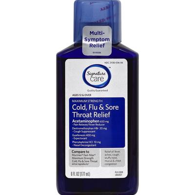 Signature Care Cold, Flu & Sore Throat Relief, Maximum Strength