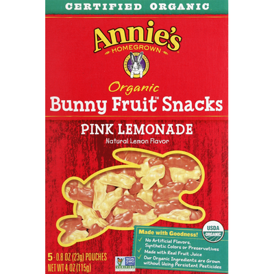 Annie's Bunny Fruit Snacks, Organic, Pink Lemonade