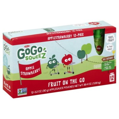 GoGo Squeez Applesauce, Fruit On the Go, Apple Strawberry, 12 Pack