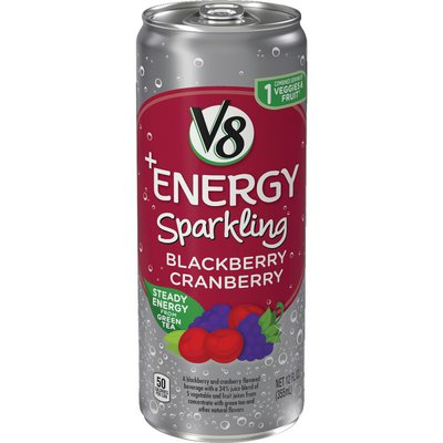 V8® Sparkling Healthy Energy Drink, Natural Energy from Tea, Blackberry Cranberry