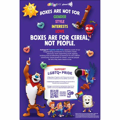 Kellogg's GLAAD Together With Pride Breakfast Cereal, Support LGBTQ, Fiber Cereal, Berry