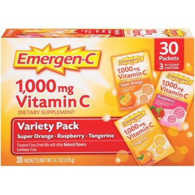 Emergen-C Raspberry/Tangerine/Super Orange Vitamin C 1000mg Drink Mix Dietary Supplement