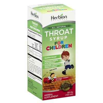 Herbion Throat Syrup, for Children, Natural Cherry Flavor