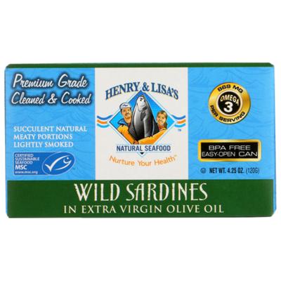 Henry & Lisas Sardines, Wild, Extra Virgin Olive Oil, Box