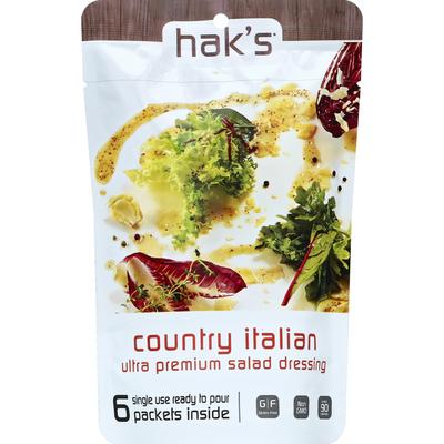 Hak's Salad Dressing, Ultra Premium, Country Italian, Single Use Packets